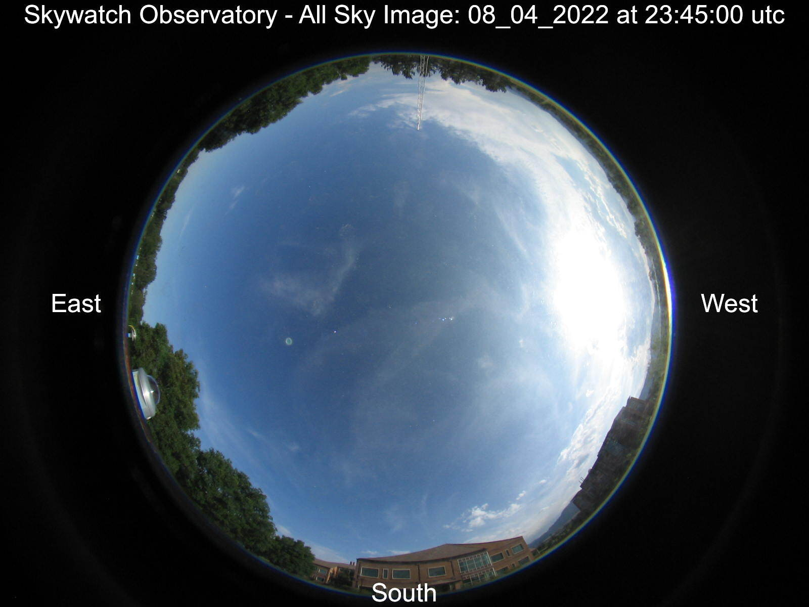 Hemispheric view of the sky above the observatory